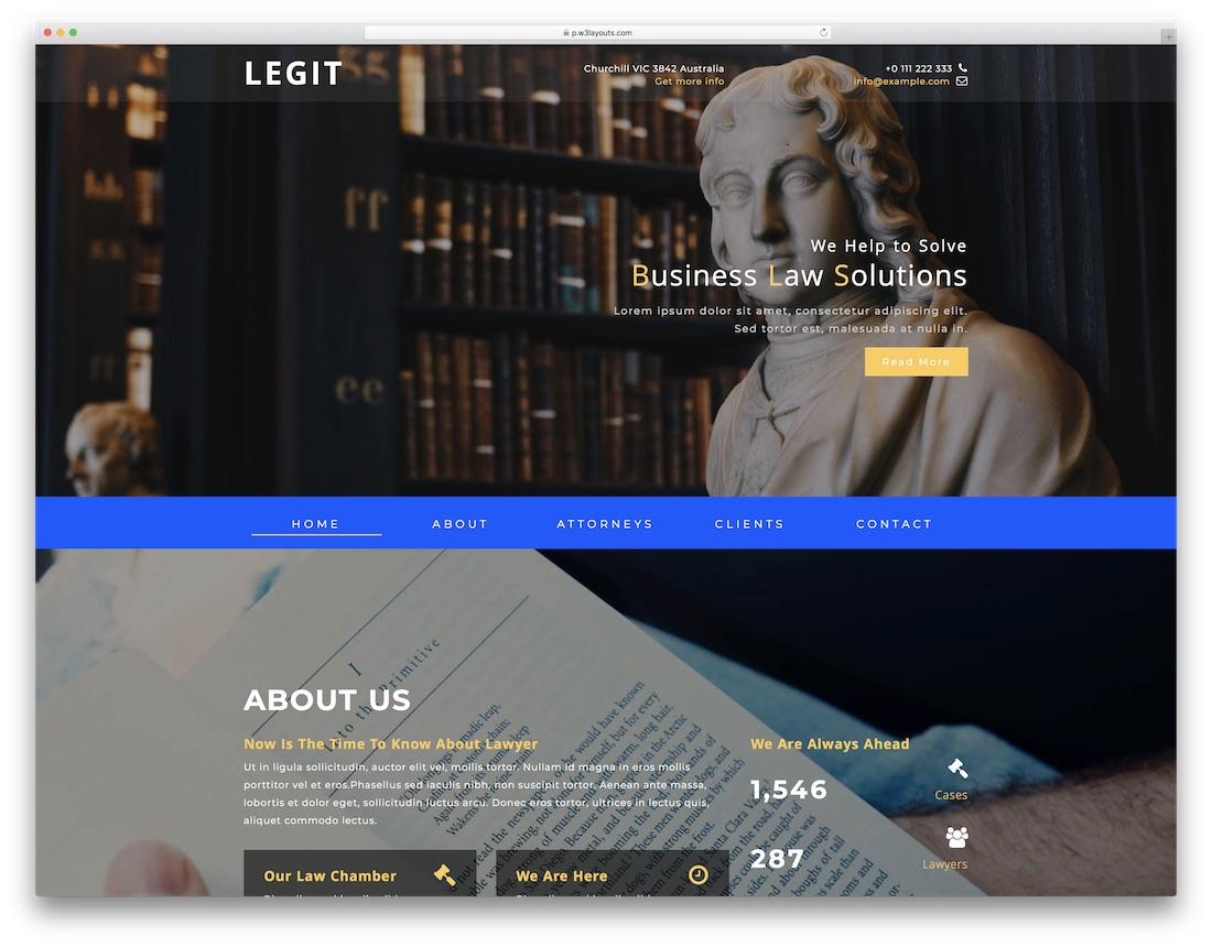 legit free lawyer website template