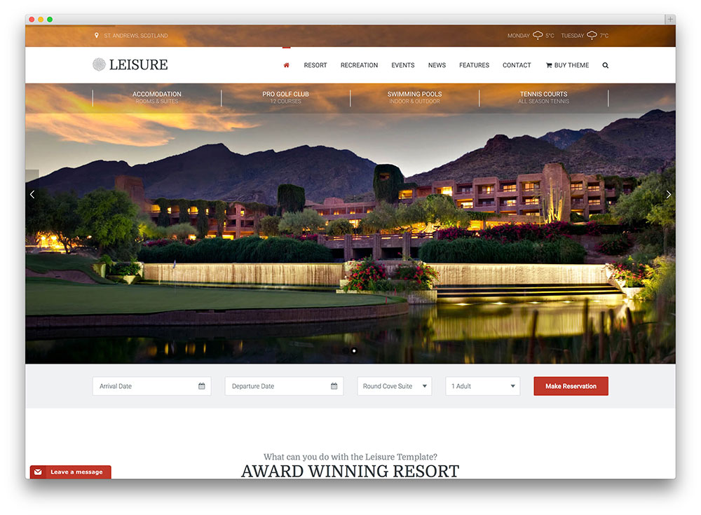 leisure - travel hotel booking theme