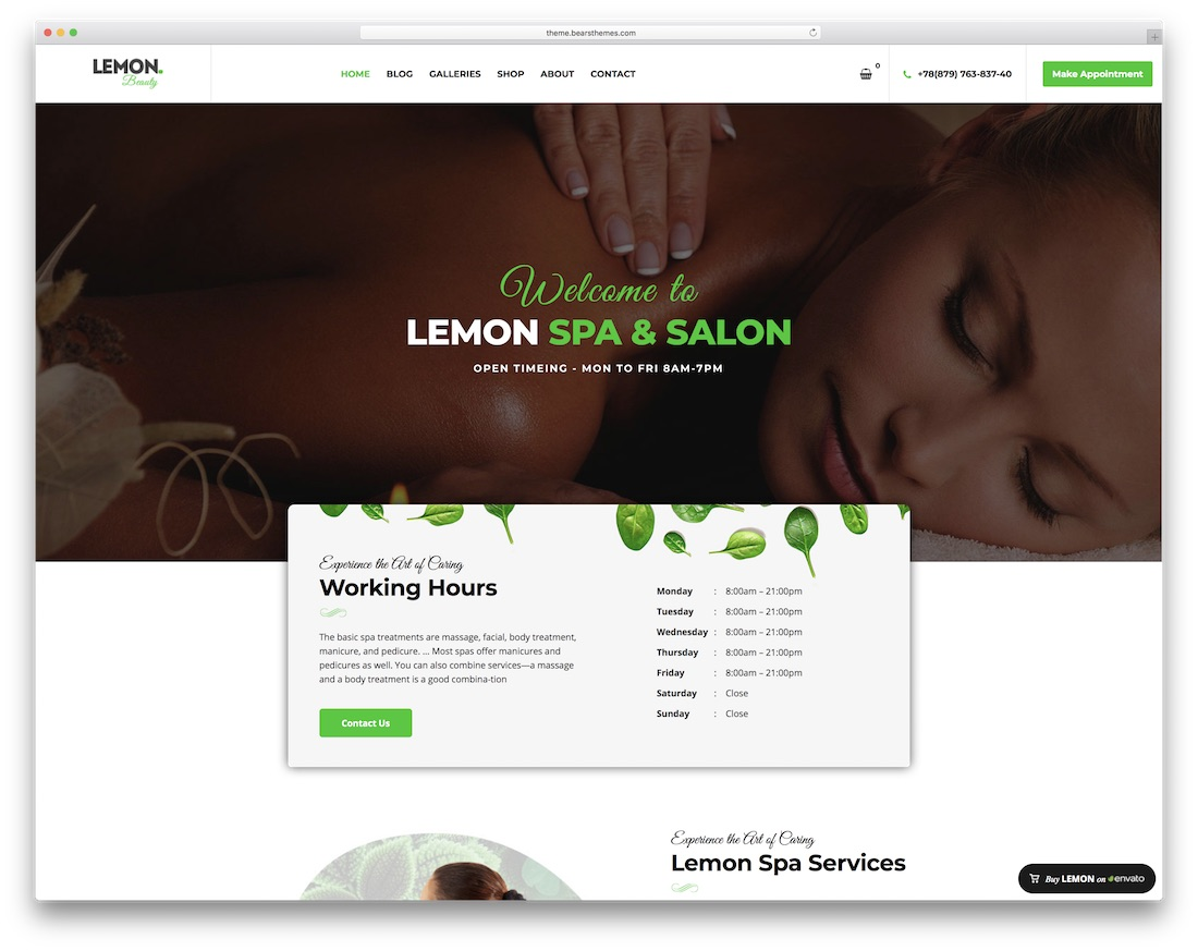 lemon spa massage salon wordpress theme