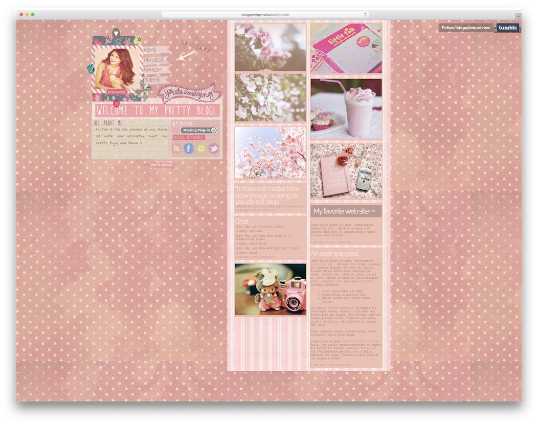 lets go pink free tumblr theme