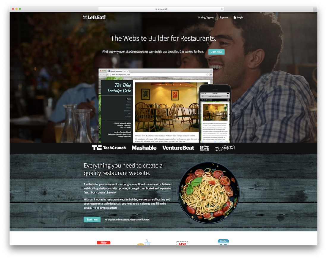 letseat restaurant website builder