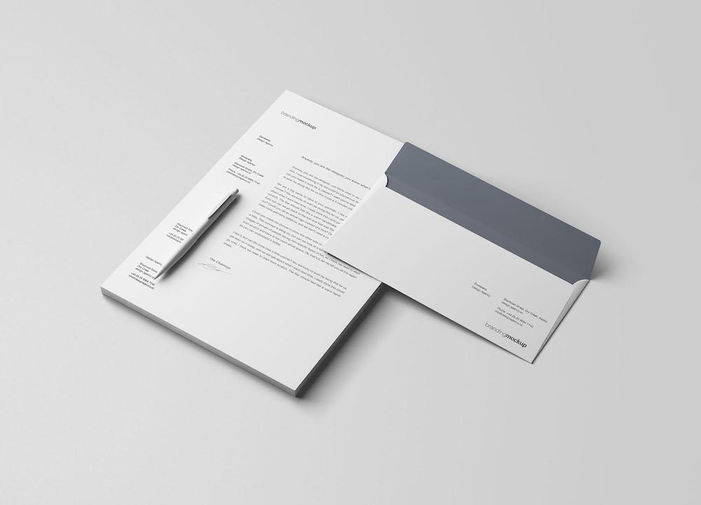 letterhead envelope psd mockup