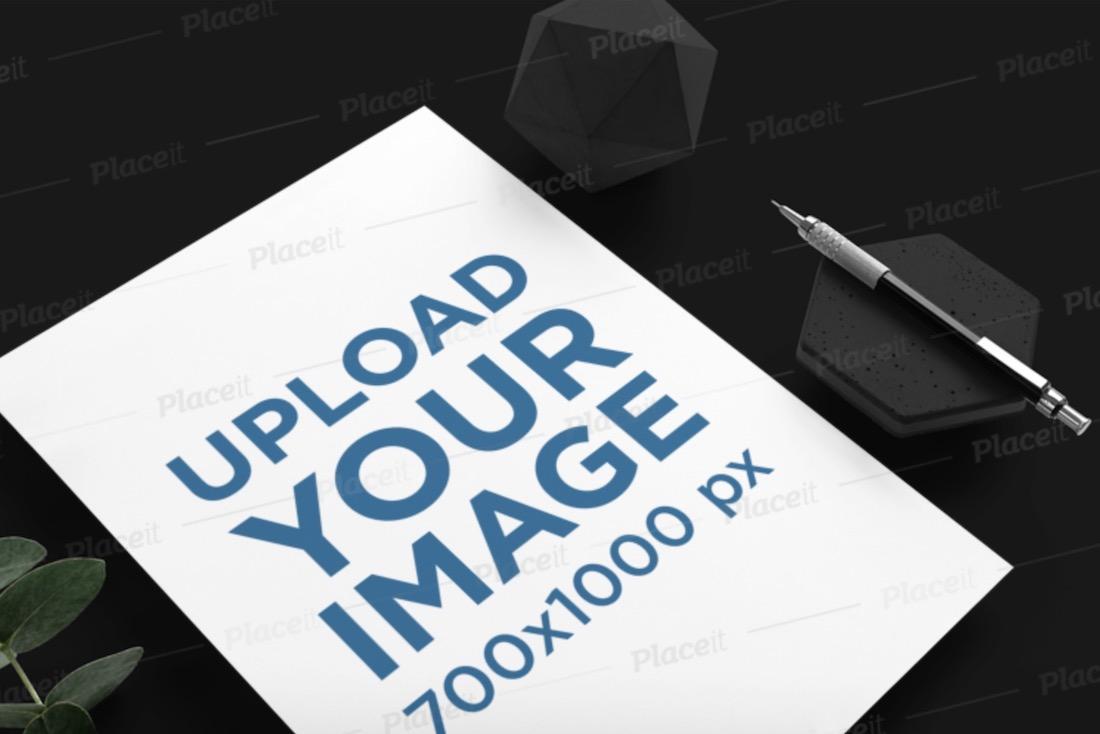 letterhead mockup featuring a minimalistic setting