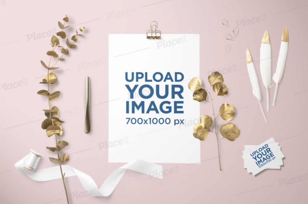 letterhead mockup featuring golden ornaments and business cards