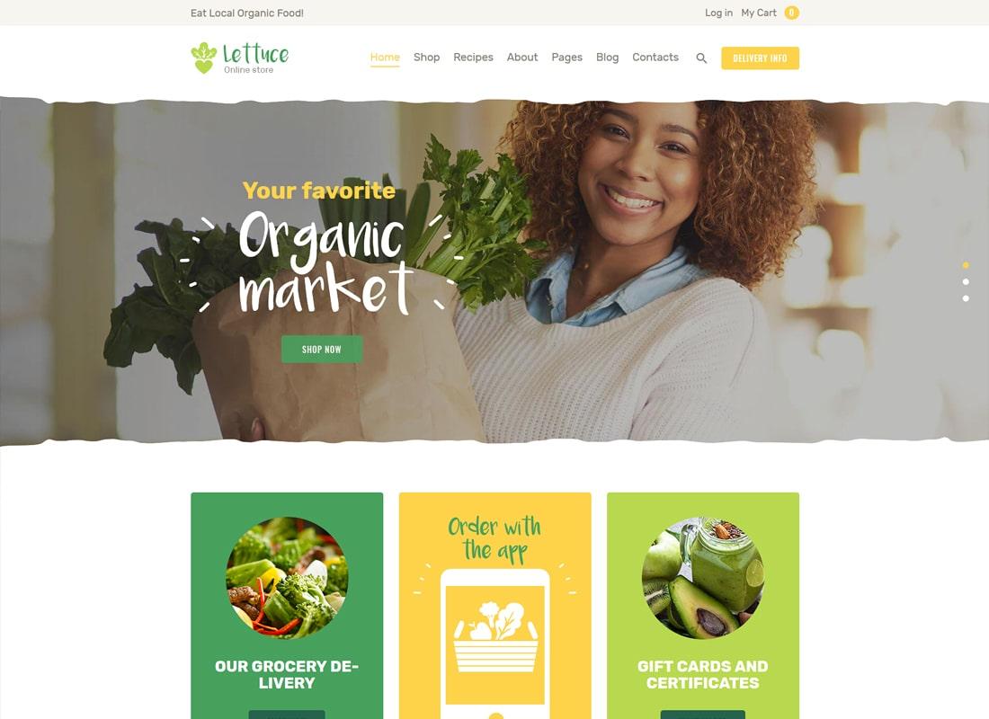양상추 | 유기농 식품 및 에코 제품 WordPress Theme