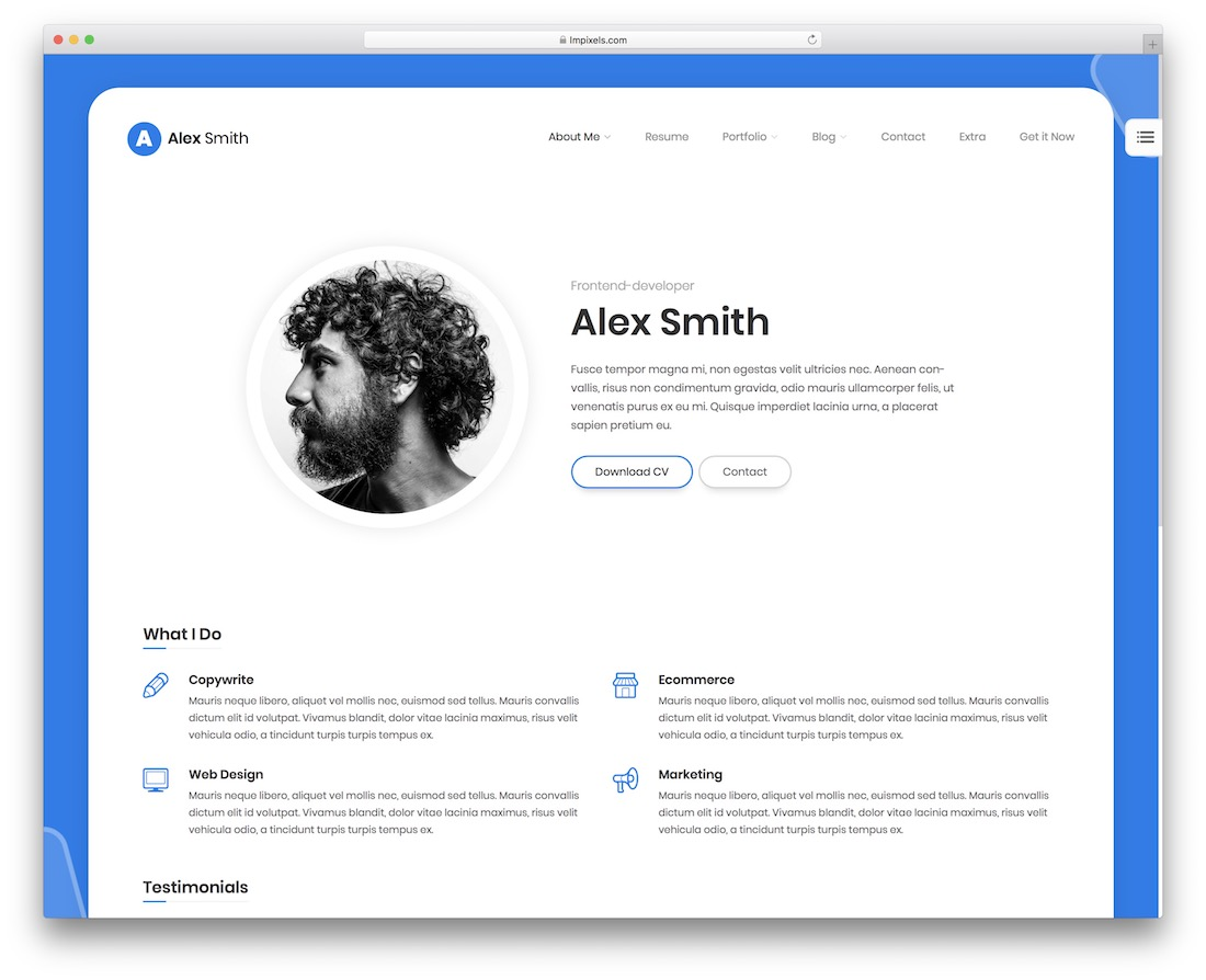 leven personal website template
