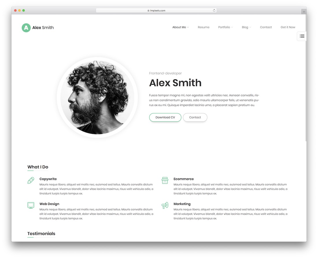 leven resume cv website template