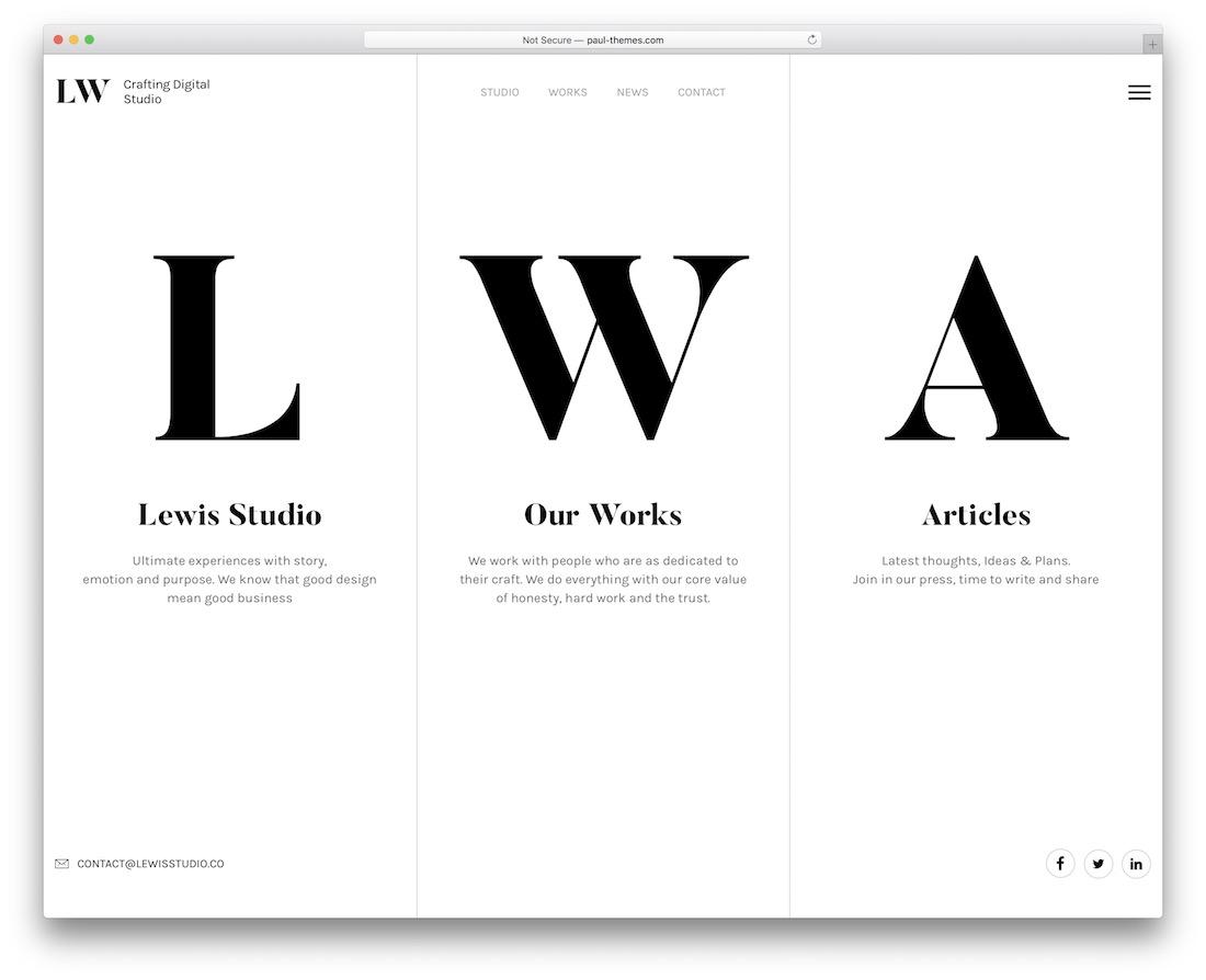 lewis interactive website template