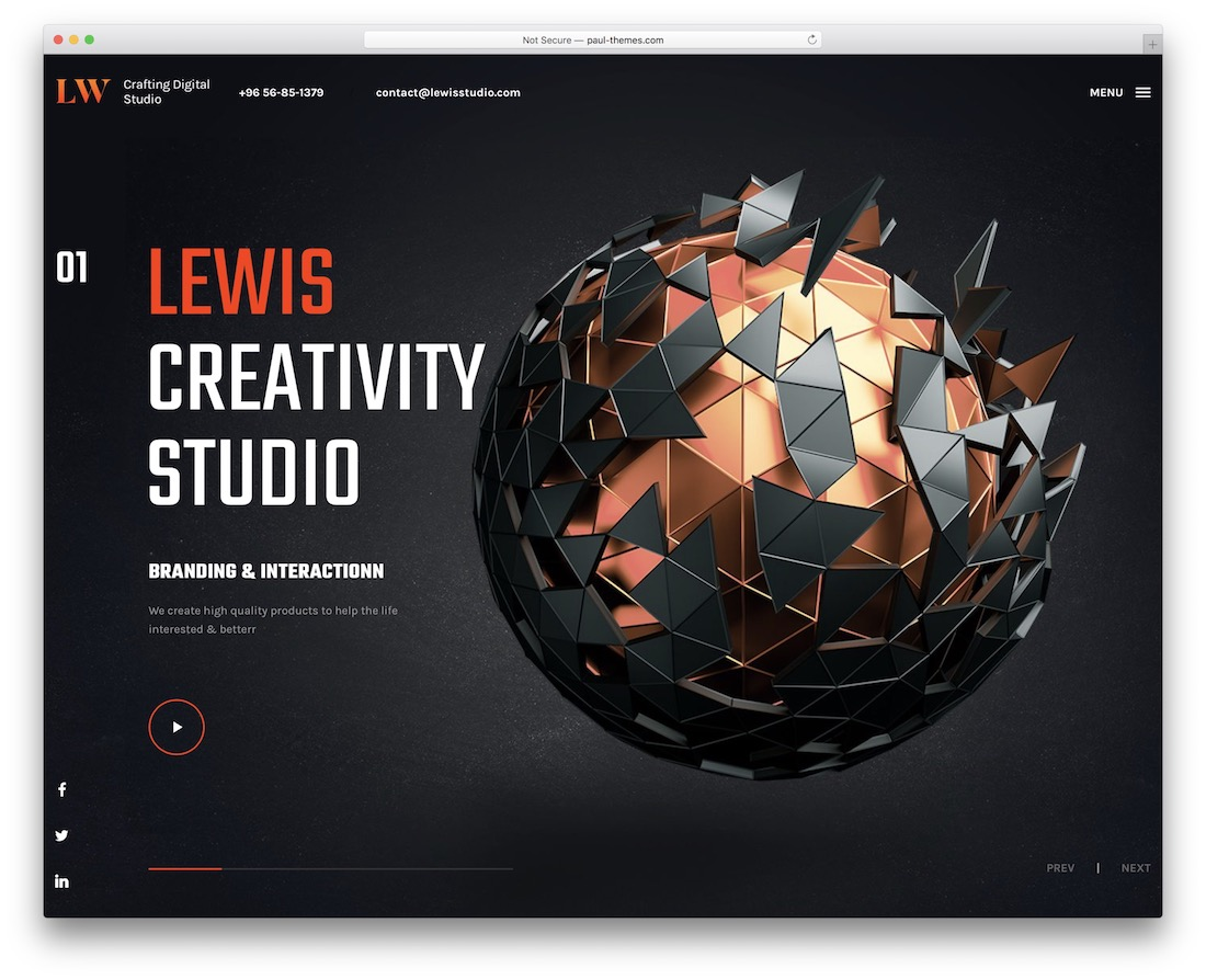 lewis portfolio wordpress theme