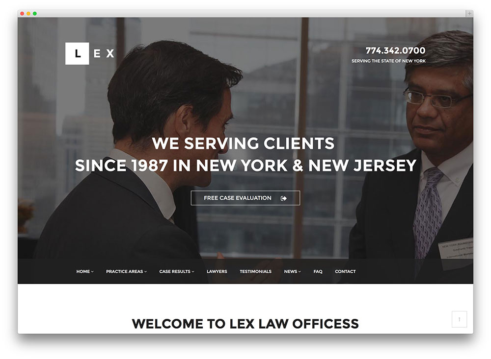 lex law attorney wordpress theme