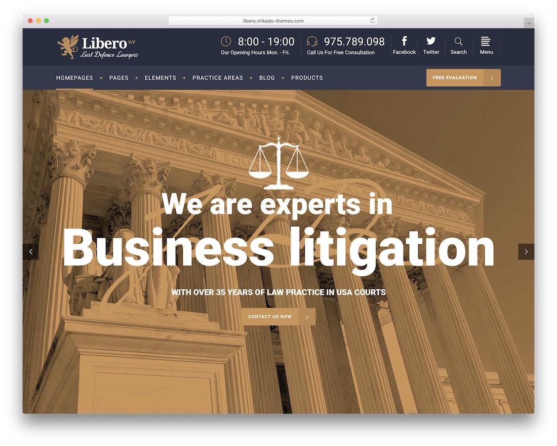 libero best lawyer wordpress theme