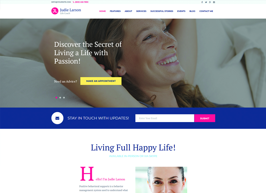Life Coach and Psychologist Personal WordPress Theme