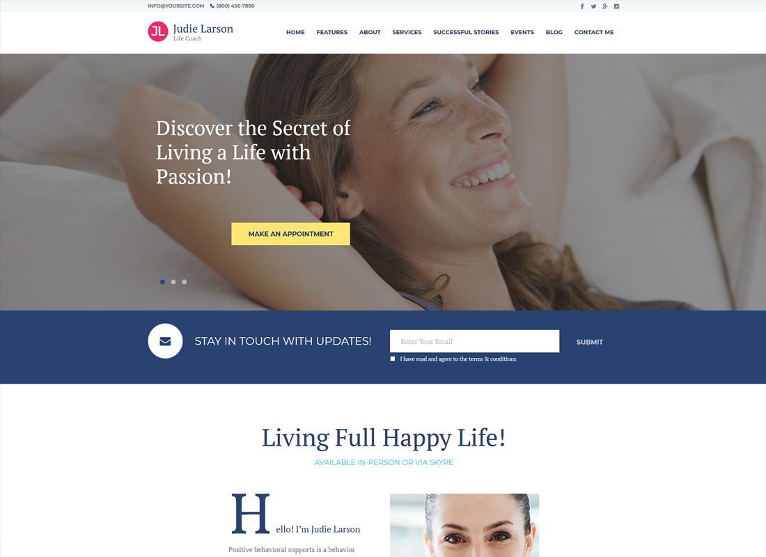 Judie Larson | Life Coach and Psychologist Personal WordPress Theme
