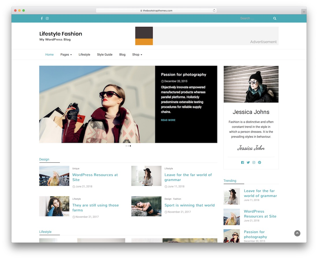 lifestyle fashion free wordpress theme