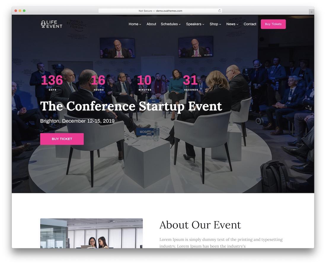 lifevent event planner wordpress theme