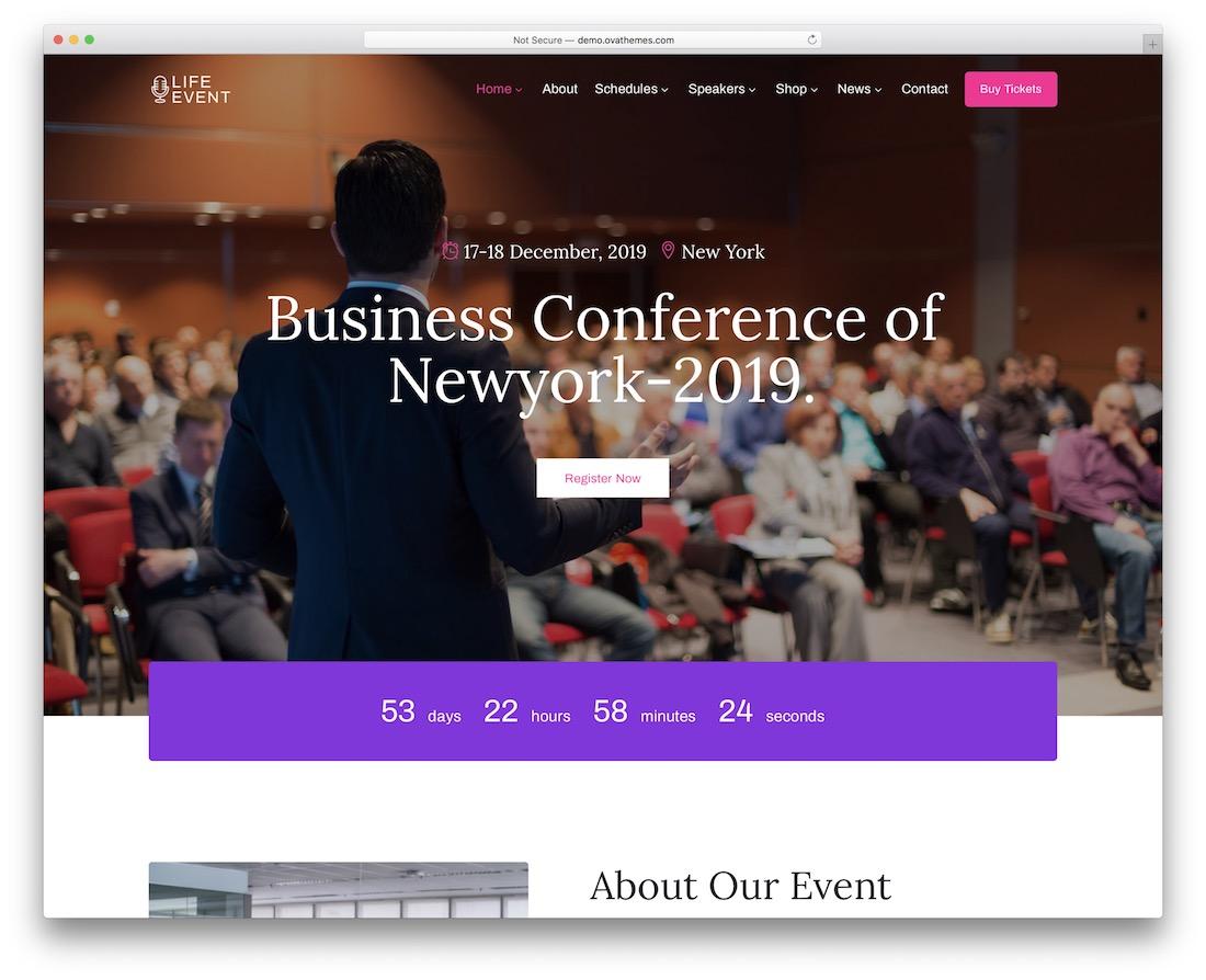 lifevent speaker wordpress theme
