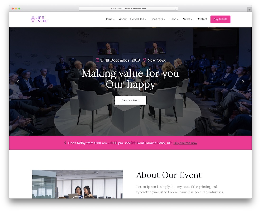 lifevent wordpress theme for conference and event