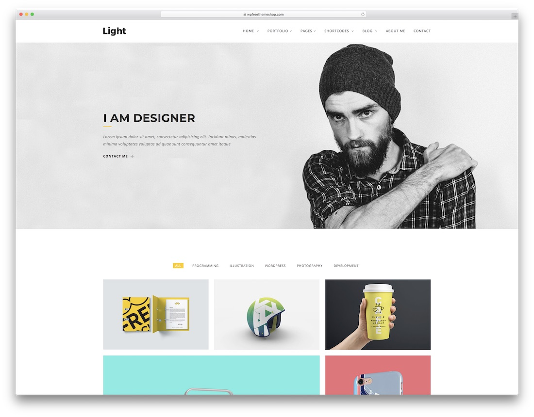 light designer website template
