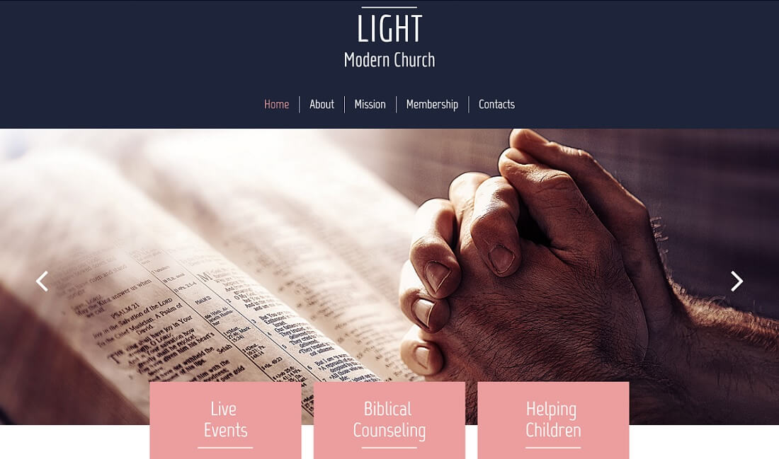 light free church website template