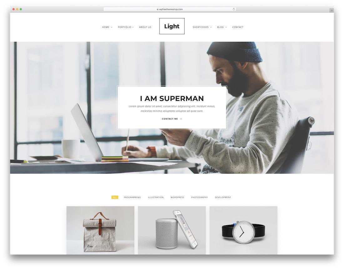 light freelancer website template