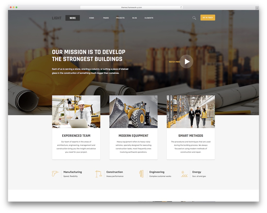 lightwire construction company wordpress theme