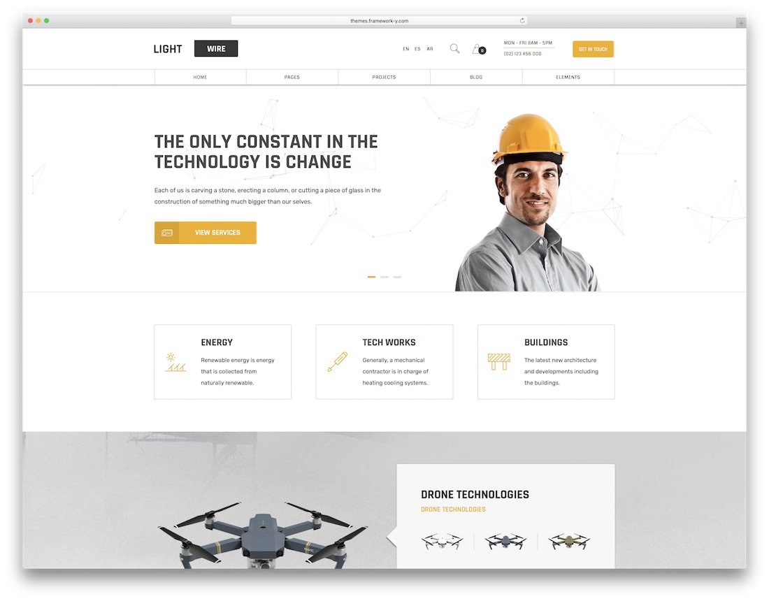 lightwire one page business theme