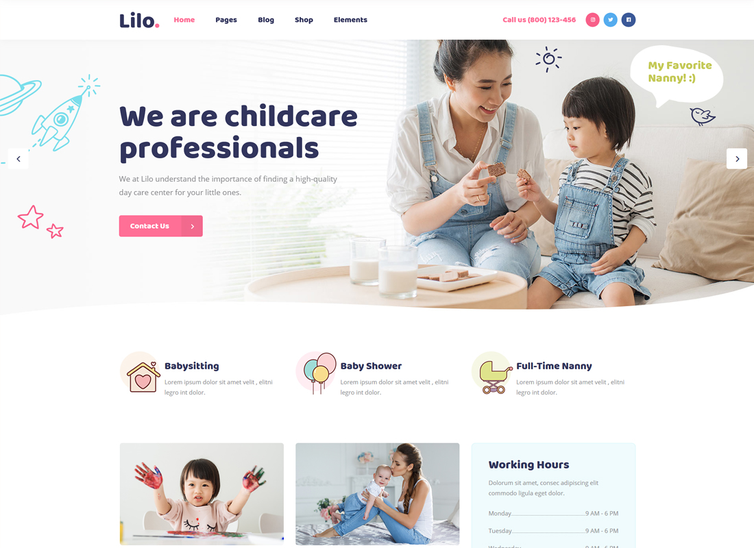 Lilo | A Babysitting and Child Care WordPress Theme