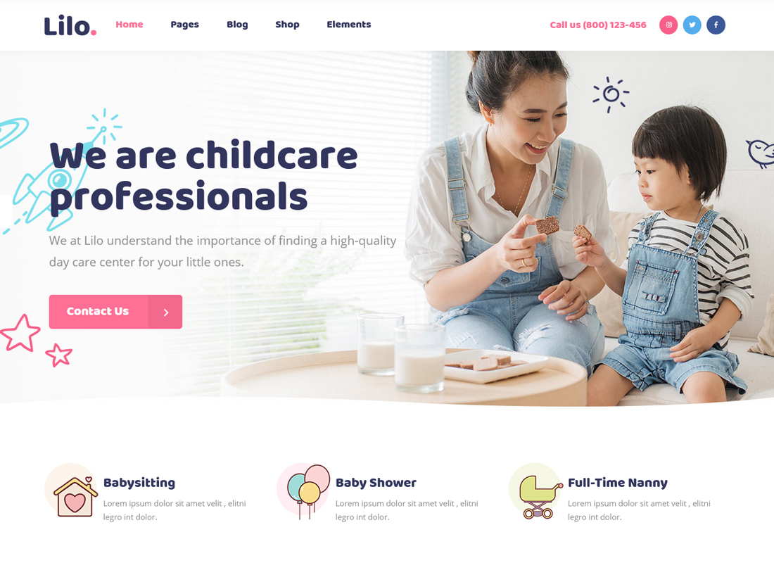 Lilo - A Babysitting and Child Care WordPress Theme