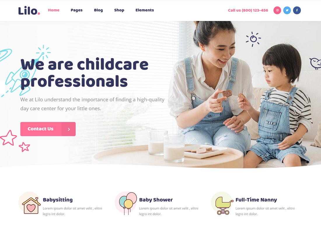 Lilo - A Babysitting and Child Care WordPress Theme