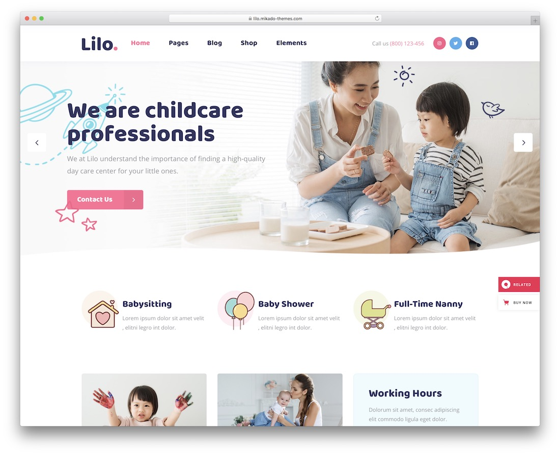 lilo kindergarten wordpress theme