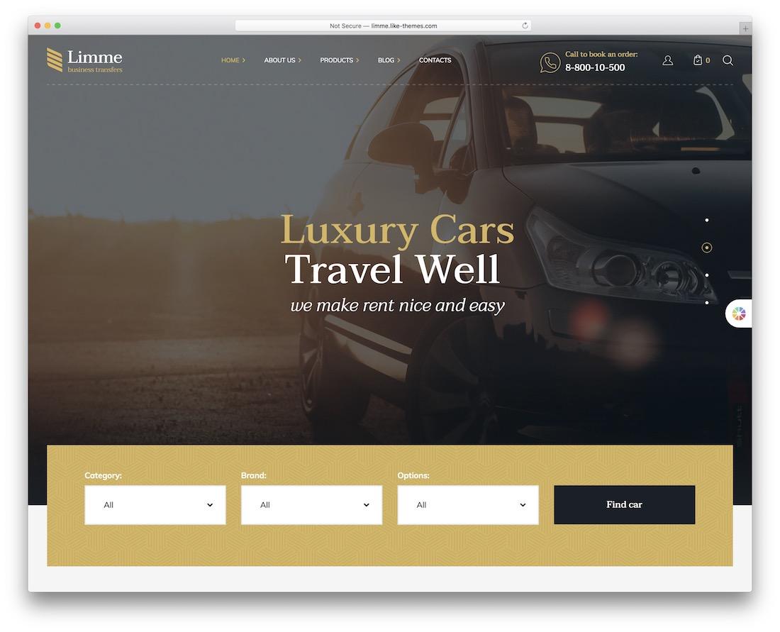 limme car rental wordpress theme