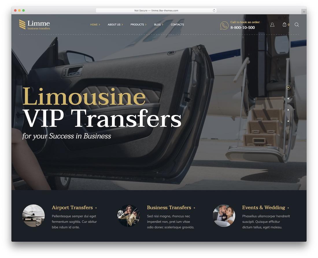limme taxi wordpress theme
