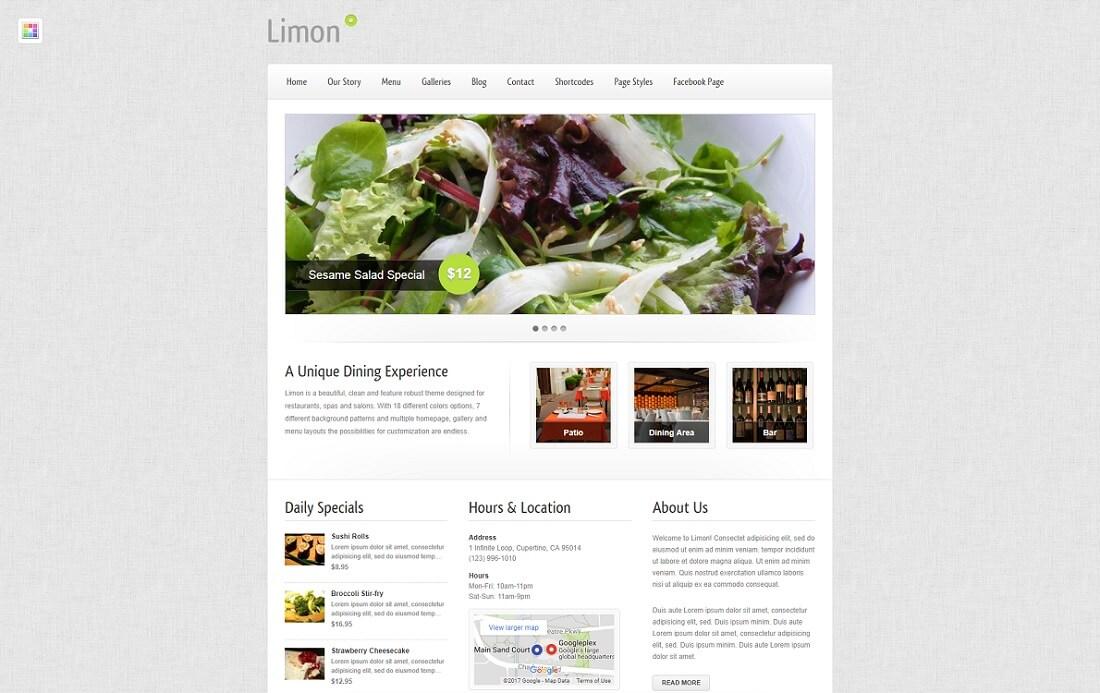 limon catering wordpress theme