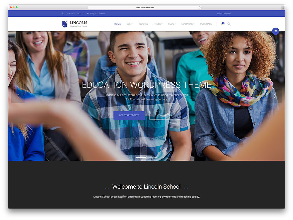 lincold-minimal-materail-design-education-theme