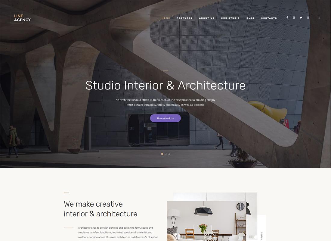Line Agency - Interior Design & Architecture WordPress Theme