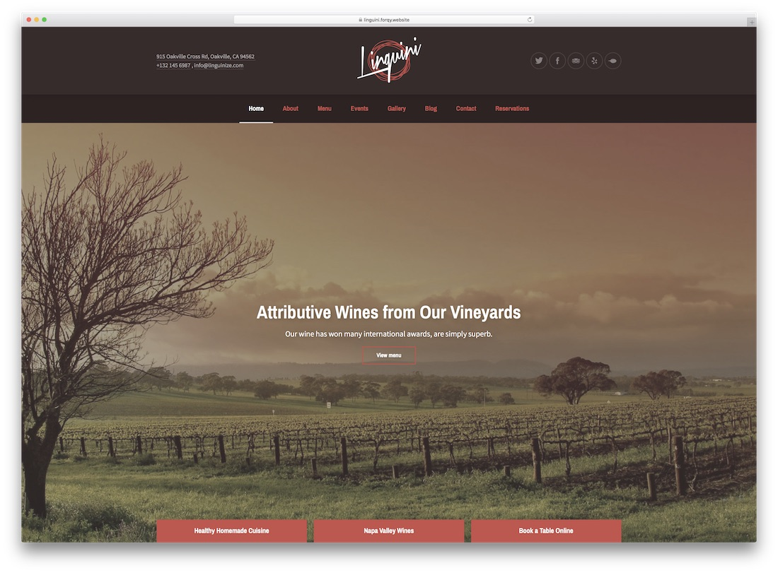 linguini restaurant catering wordpress theme