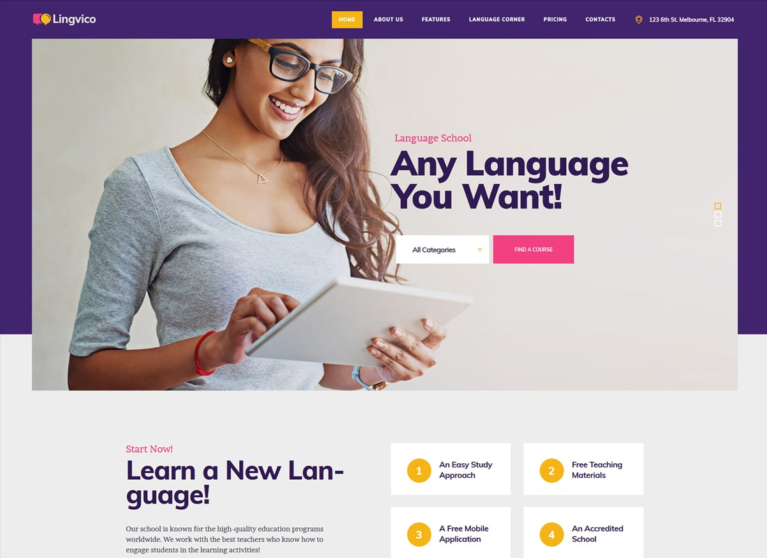 Lingvico | Language Center & Training Courses WordPress Theme