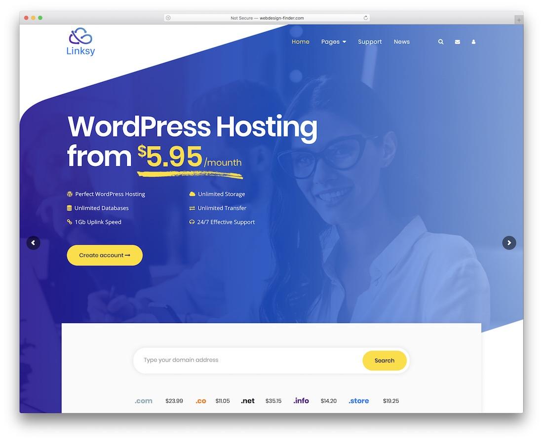 linksy web hosting website template