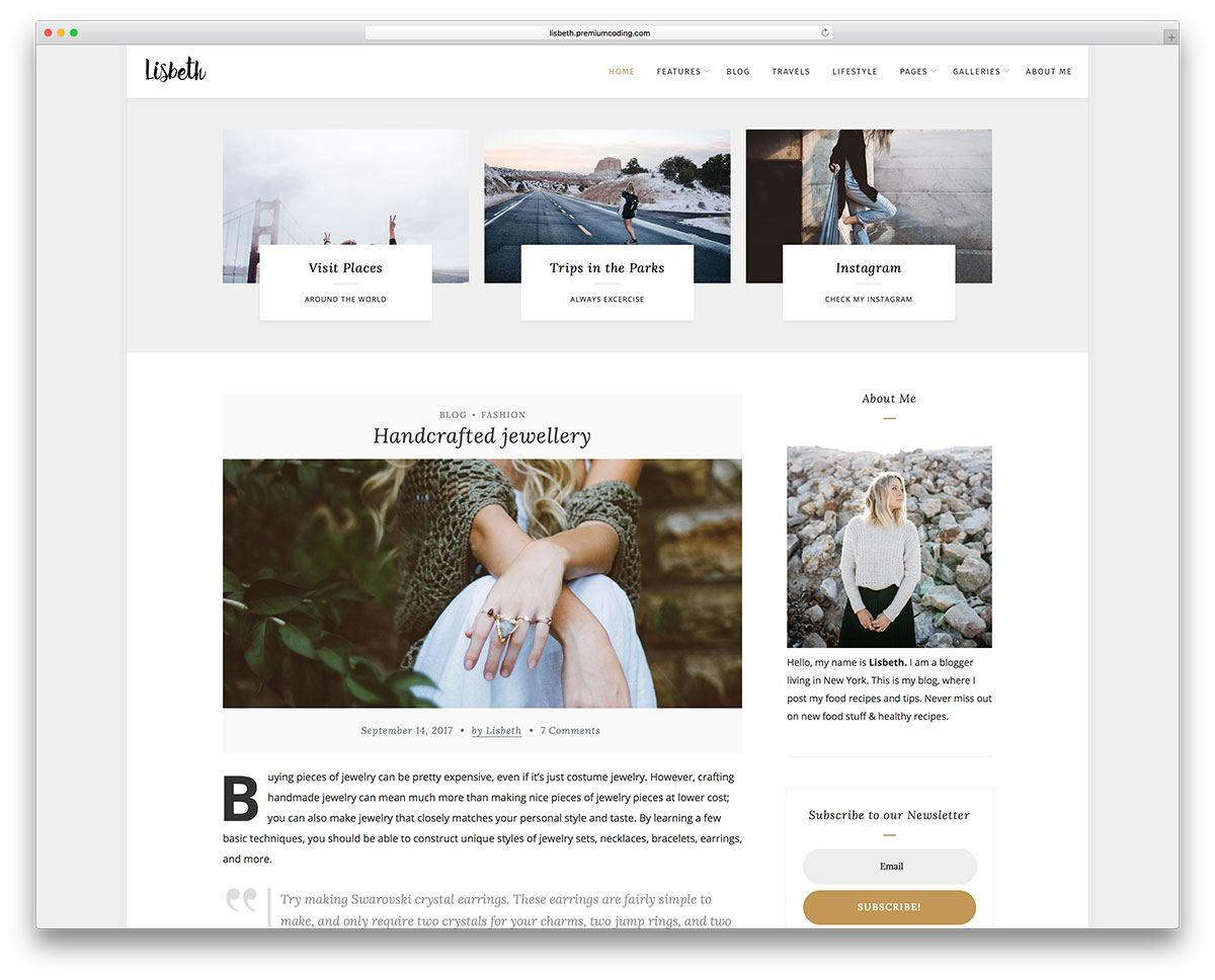 Lisbeth Is A WordPress Theme Designed For Bloggers, Especially For Fashion.  It Was Built With A Multifaceted Clean And Minimalistic Layout Made For ...