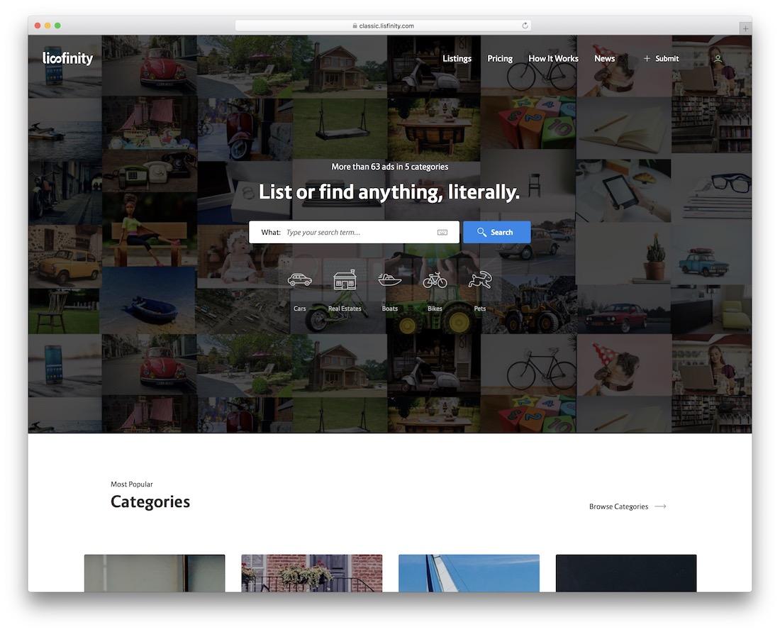 lisfinity wordpress classifieds theme