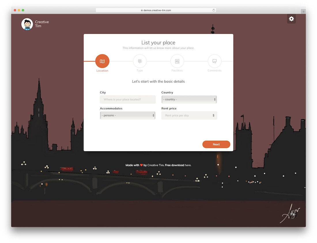 list your place free bootstrap wizard