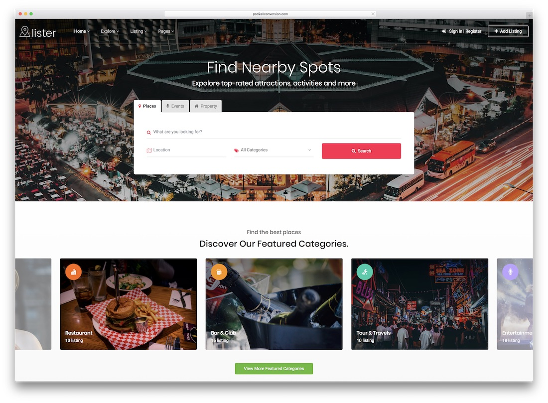 lister directory website template