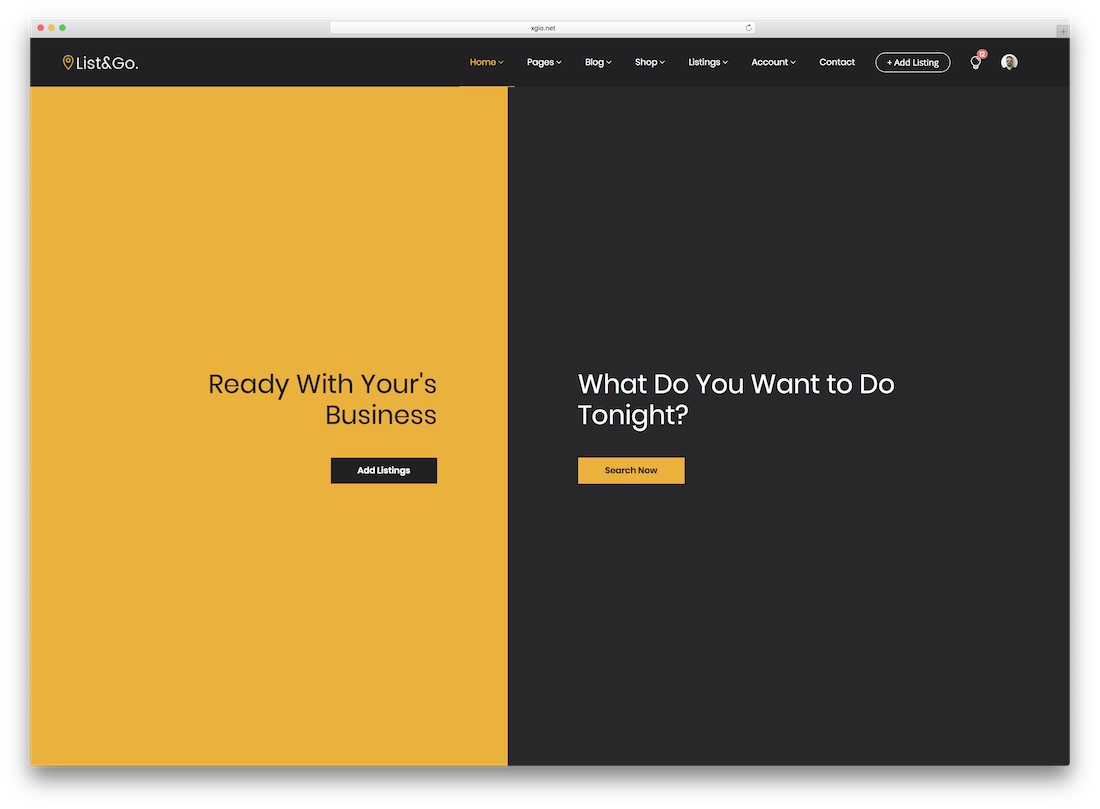 listgo directory website template