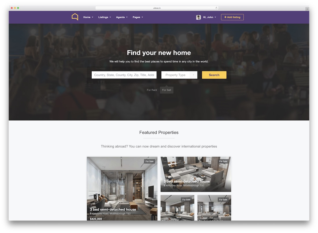 listo real estate website template