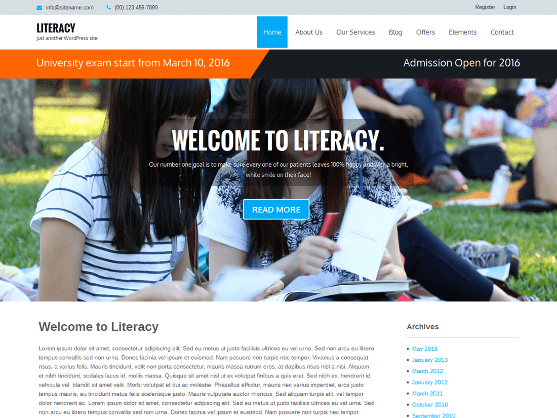Literacy WordPress Education Theme