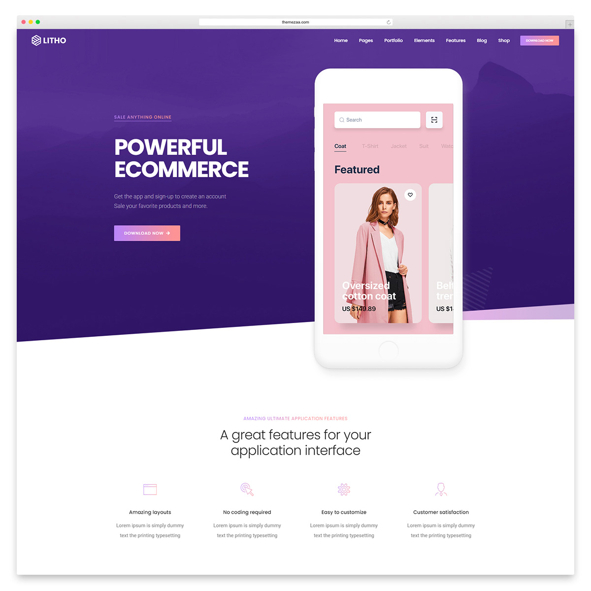 litho app showcase wordpress theme