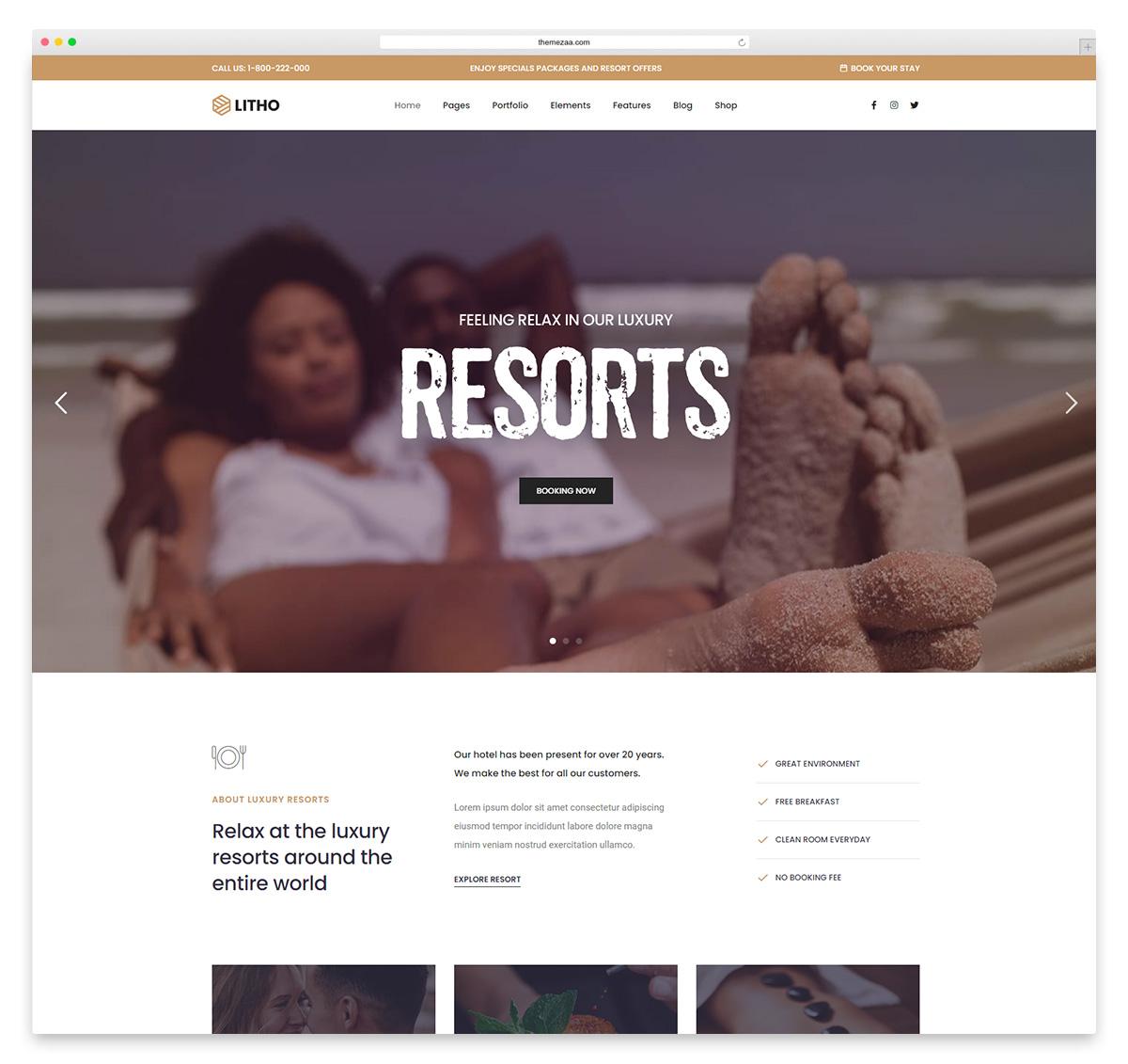 litho hotel wordpress theme