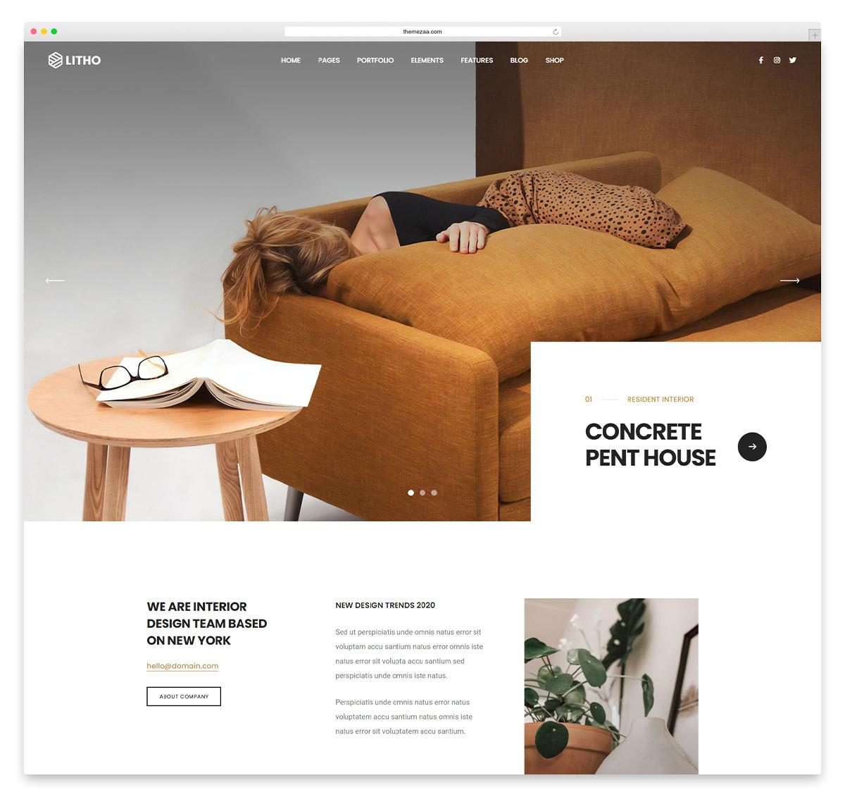 litho interior design wordpress theme