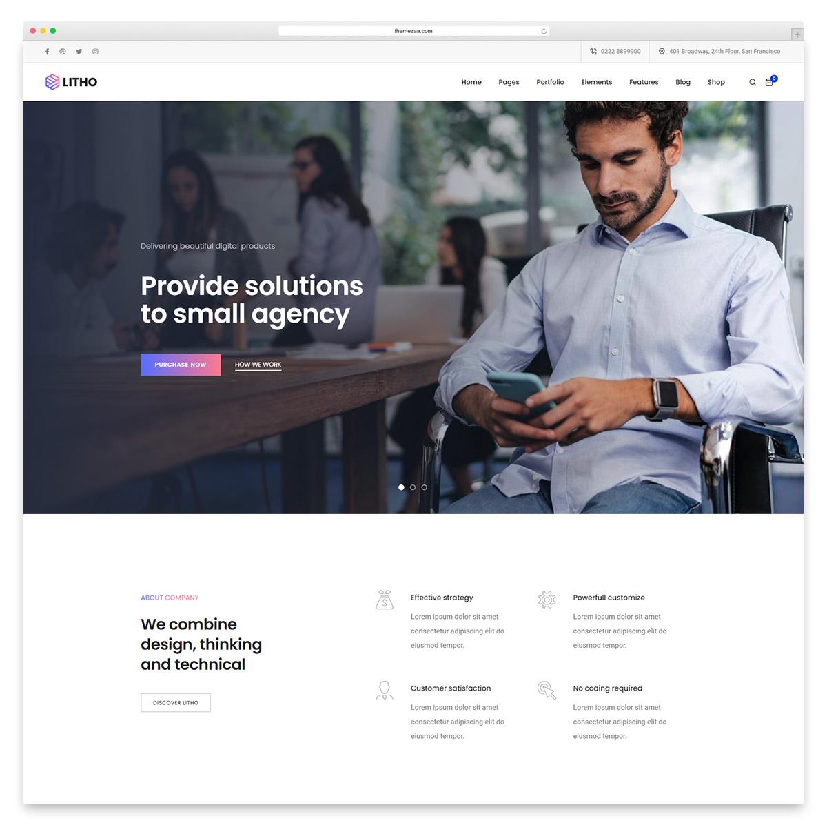 litho small business wordpress theme