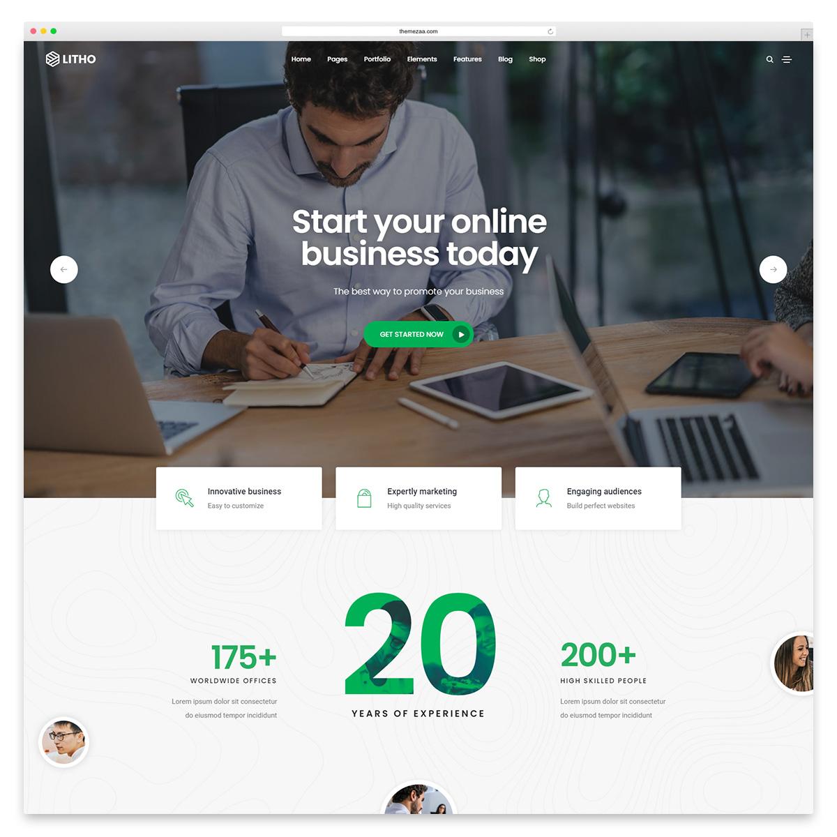 litho startup wordpress theme